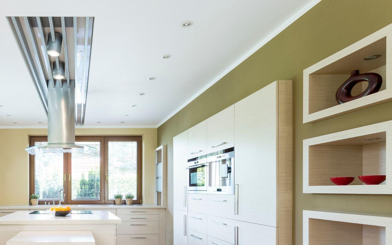 cucina contro soffitto cartongesso arredo